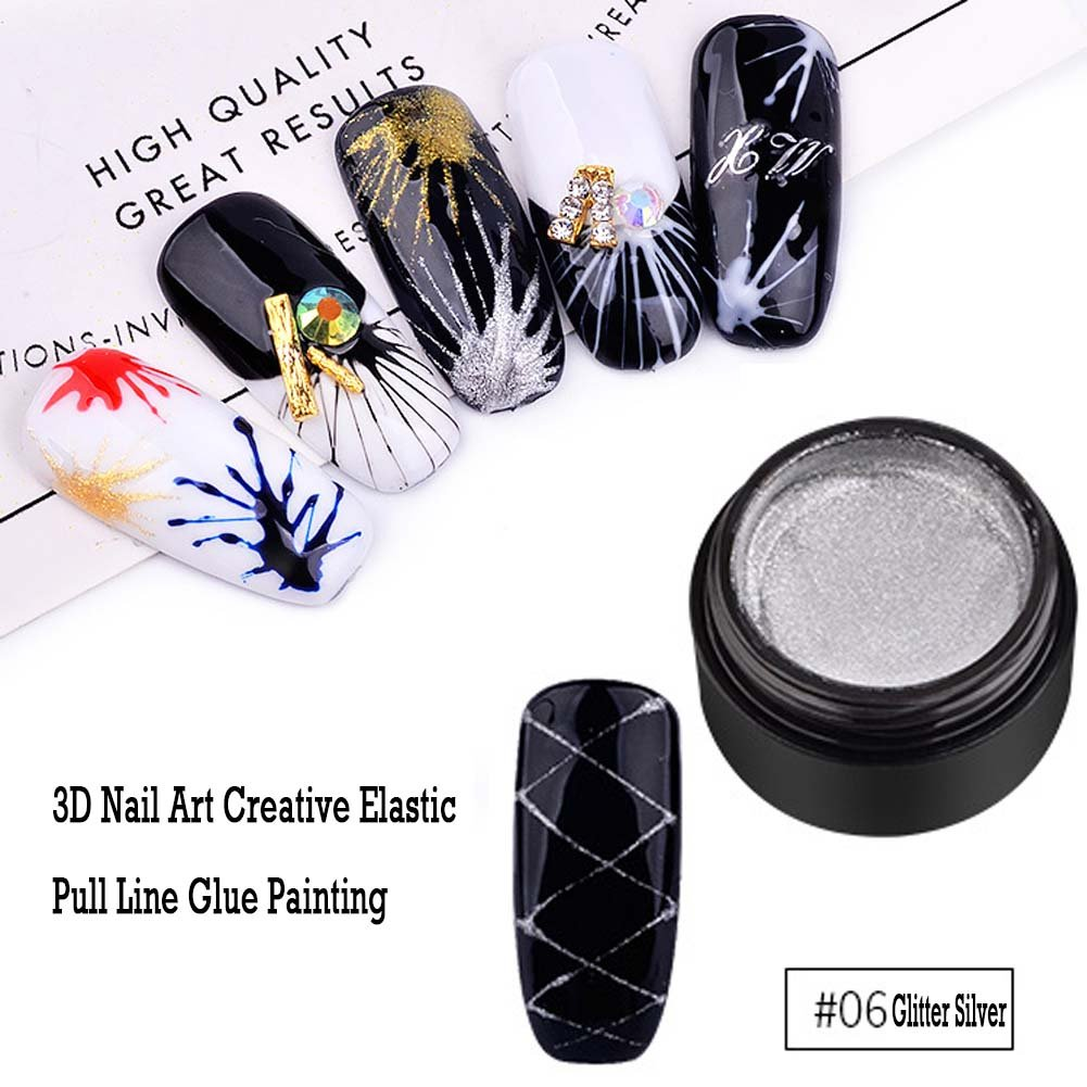 Lookathot 1 Box 3D Nail Art Creative Elastic Pull Line Glue Painting Drawing Polish Emboss UV Gel Sculpture Design Manicure DIY Decorative Tips Tools Accessories