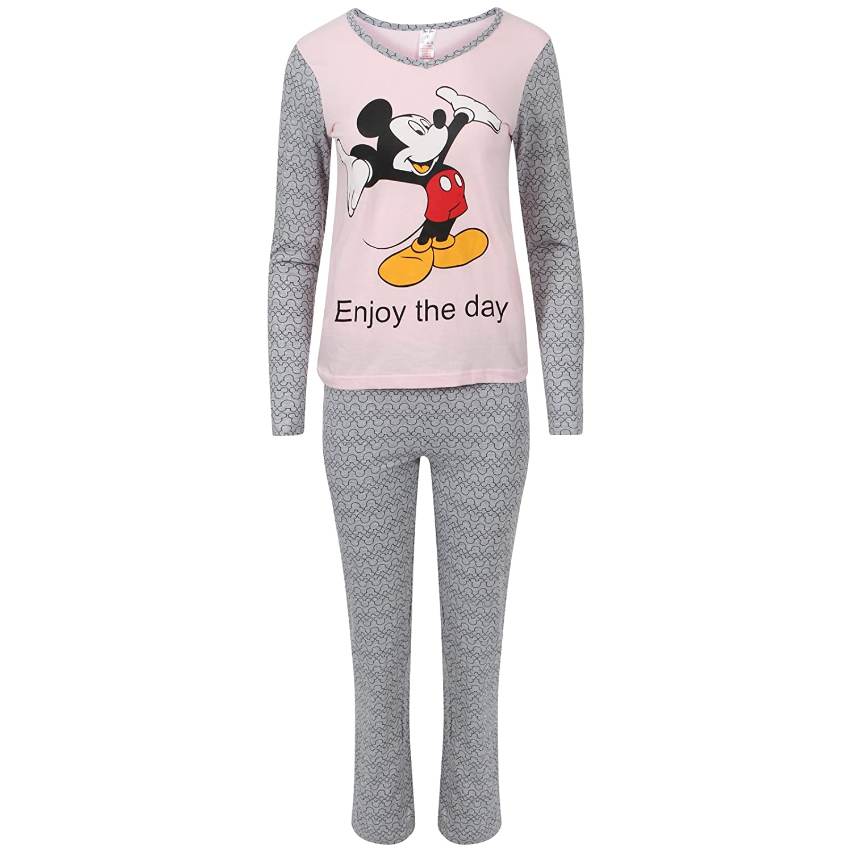 Snoopy Womens Long Sleeve Pyjama Set Ladies Mickey Minnie Mouse PJ's Nightwear