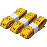SumVibe Soft Tape Measure 120 Inches/300cm, Pocket Measuring Tape for Sewing Tailor Cloth Body Measurement, Yellow 3-Pack