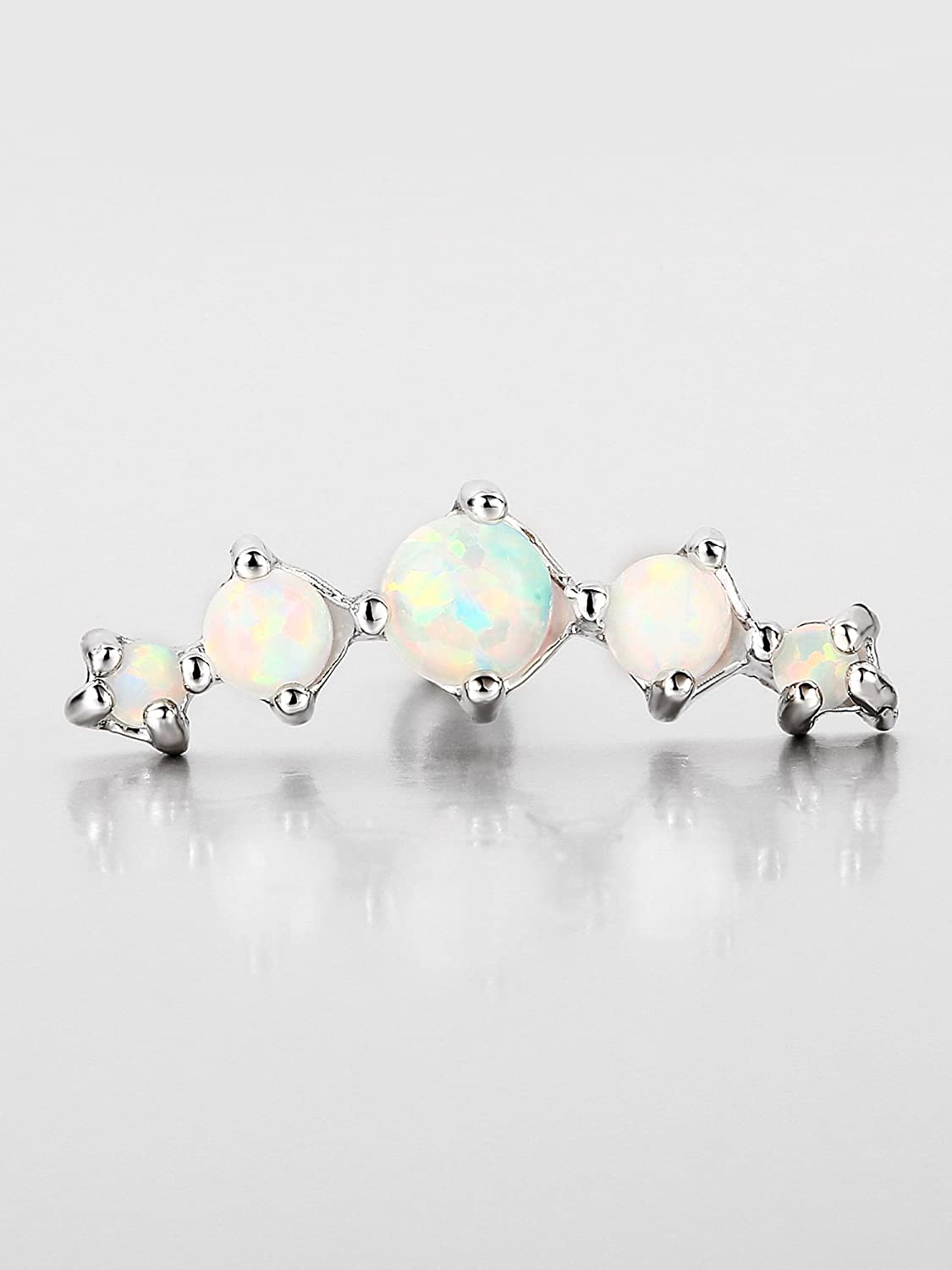2 Pieces 16 Gauge Surgical Steel Cartilage Stud Curved Synthetic Opal CZ Ear Studs Tragus Helix Earring Piercing for Women Girls