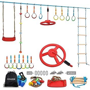 Ninja Warrior Training Equipment for Kids - 56 Ninja Line with 11 Obstacles (7 Rings, Swing, Ladder, Rope, Steering Wheel) - Slackline Obstacle ...