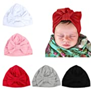 LERTREE 5 Pack Newborn Baby Solid Knot Hats Baby Girls Toddler Turban Bow Cap Infant Head Cap