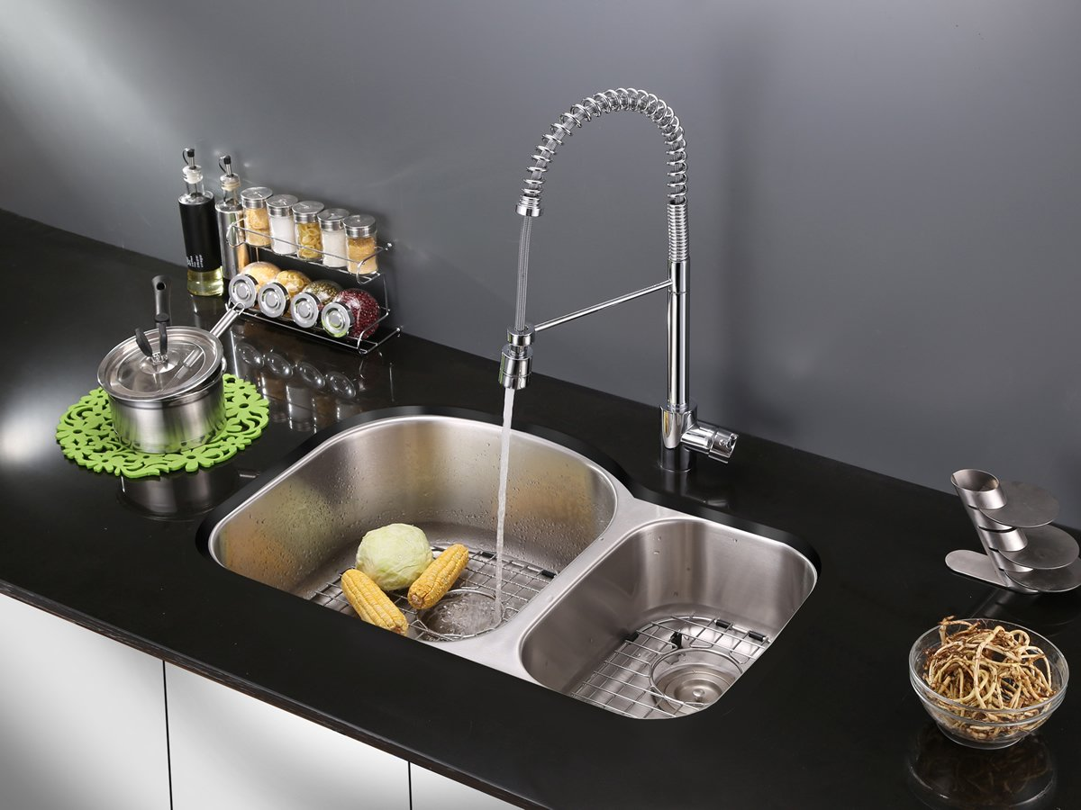 Ruvati RVF1210CH Commercial Style Pullout Spray Kitchen Faucet ...