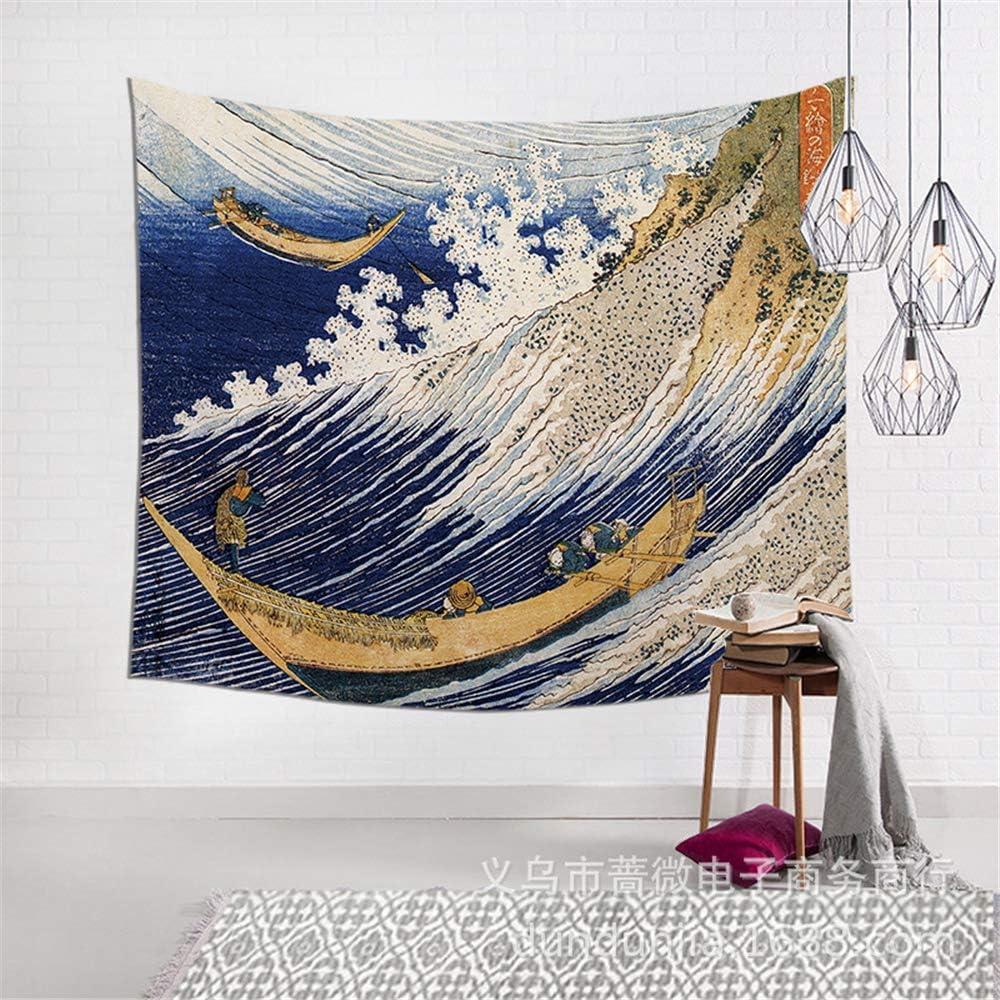 OTIAN Tapiz Macrame Olas Japonesas De Kanagawa Impreso Tapiz Colgante Tapices De Tótem Manta De Colcha Boho