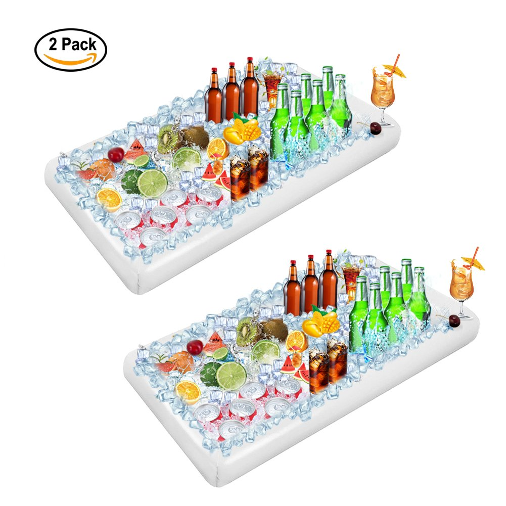 Youdgee Inflatable Serving Bar Salad Ice Buffet Tray Food Drink Containers for Party Picnic BBQ Luau Cooler 2 Pcs