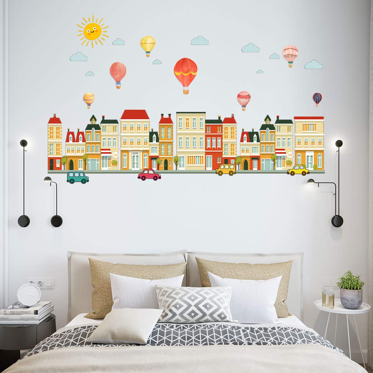 RodwayH Street View and Hot Air Balloons Kids Wall Decals Wall Stickers Peel and Stick Removable Wall Stickers for Kids Nursery Bedroom Living Room