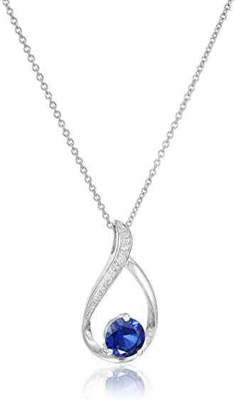 Amazon sterling silver created sapphire and diamond accented sterling silver created sapphire and diamond accented pendant necklace 18quot aloadofball Image collections