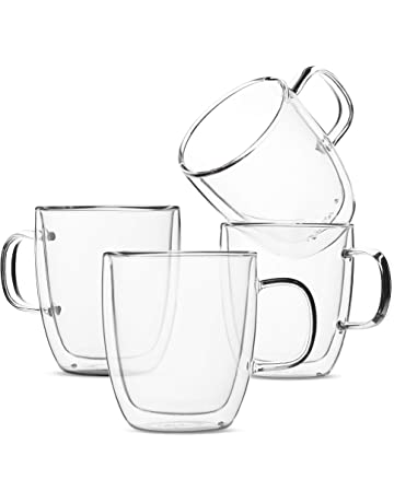 744b587d360 BTäT- Insulated Coffee Mugs, Glass Tea Mugs, Set of 4 (12 oz