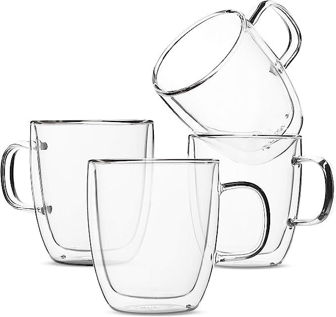 Amazon Com Btat Insulated Coffee Mugs Glass Tea Mugs Set Of 4 12 Oz 350 Ml Double Wall Glass Coffee Cups Tea Cups Latte Cups Glass Coffee Mug Beer Glasses Latte Mug