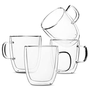 BTäT- Insulated Coffee Mugs, Glass Tea Mugs, Set of 4 (12 oz, 350 ml), Double Wall Glass Coffee Cups, Tea Cups, Latte Cups, Glass Coffee Mug, Beer Glasses, Latte Mug, Clear Mugs, Glass Cappuccino Cups