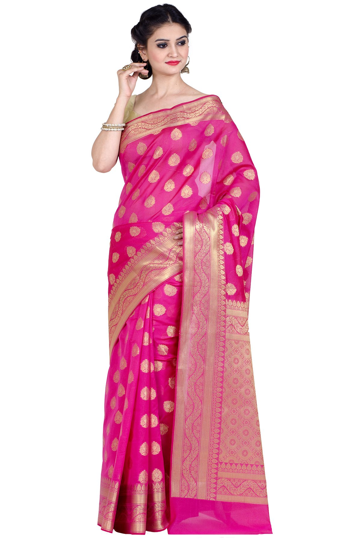 Chandrakala Women's Cotton Banarasi Saree Free Size Pink