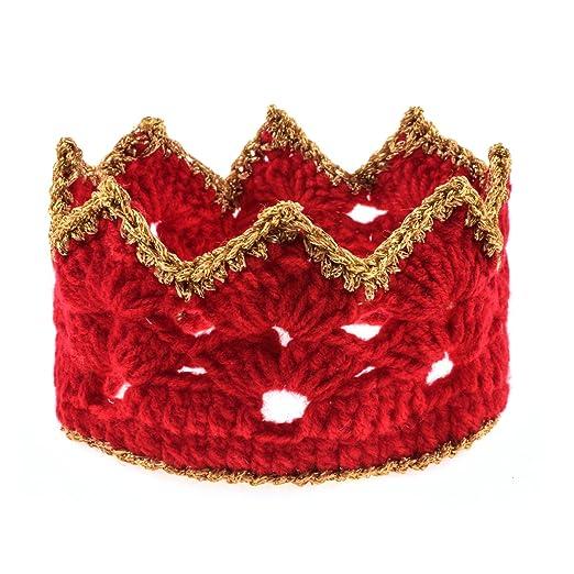 Amazon Ddazzling Newborn Baby Toddler Red Gold Knit Crown Hat