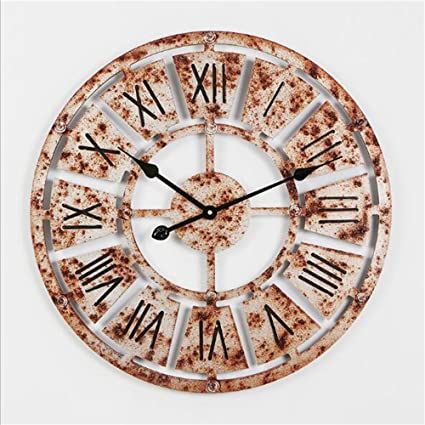DACHUI Vintage paredes silenciosa relojes con diseño hueco creativo con el número romano Pantalla de sala