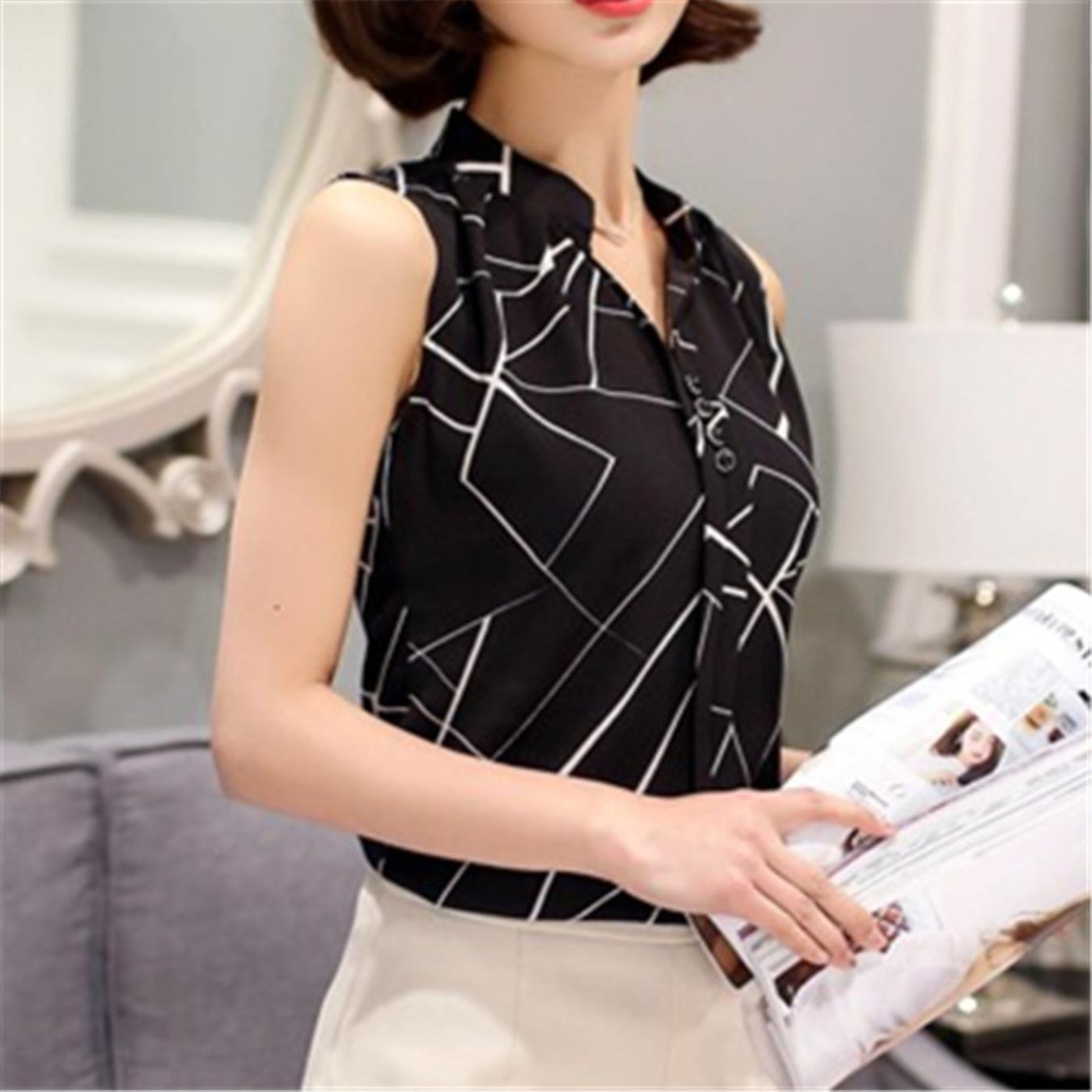 Chiffon Sleeveless Summer Womens Tops and Blouses Shirts Casual feminine Blouse