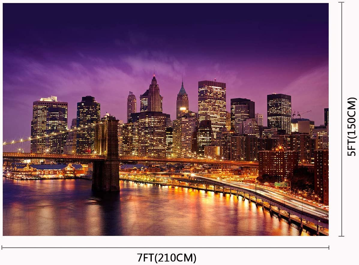 10x8ft Night Cityscape Photography Backdrop Urban Light Skyscraper Bridge Background Photo Props Professional Backdrops Room Mural LYFU215