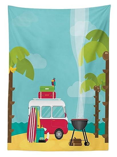 Mantel para exteriores lavable, diseño tropical de playa, con árboles de cocos y plátanos