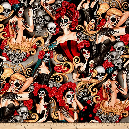 Alexander Henry Nicole's Prints Las Elegantes Bright Smoke Fabric by The Yard (Dia De Los Muertos Fabric Alexander Henry)