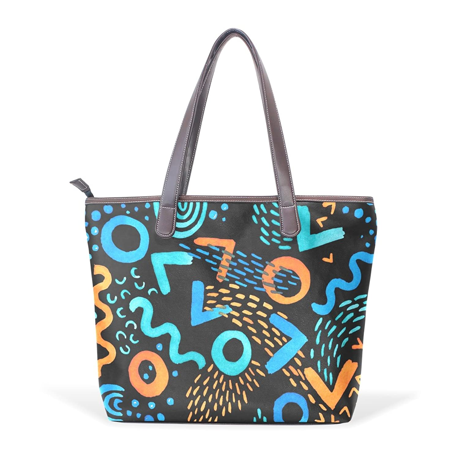 Womens Leather Tote Bag,Cartoon Hand Drawn Graphic Fresh Design,Large Handbag