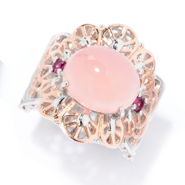 Amazon.com: Michael Valitutti Palladium Silver Pink Chalcedony ...