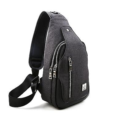 80ded54edd9 YEX Men Sling Bag Oxford Fabric Canvas Chest Shoulder Gym Outdoor Casual  Backpack Crossbody Bag Travel