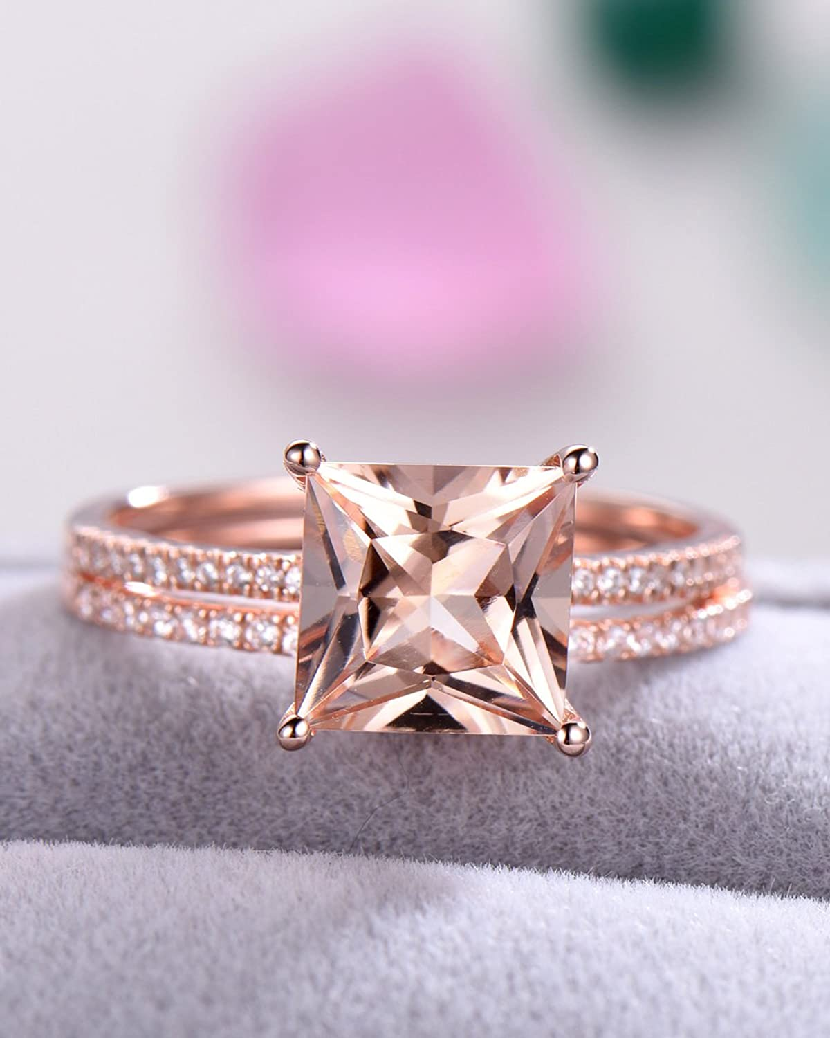 Amazon.com: 8mm Princess Cut Pink Morganite Wedding Ring Set 925 ...