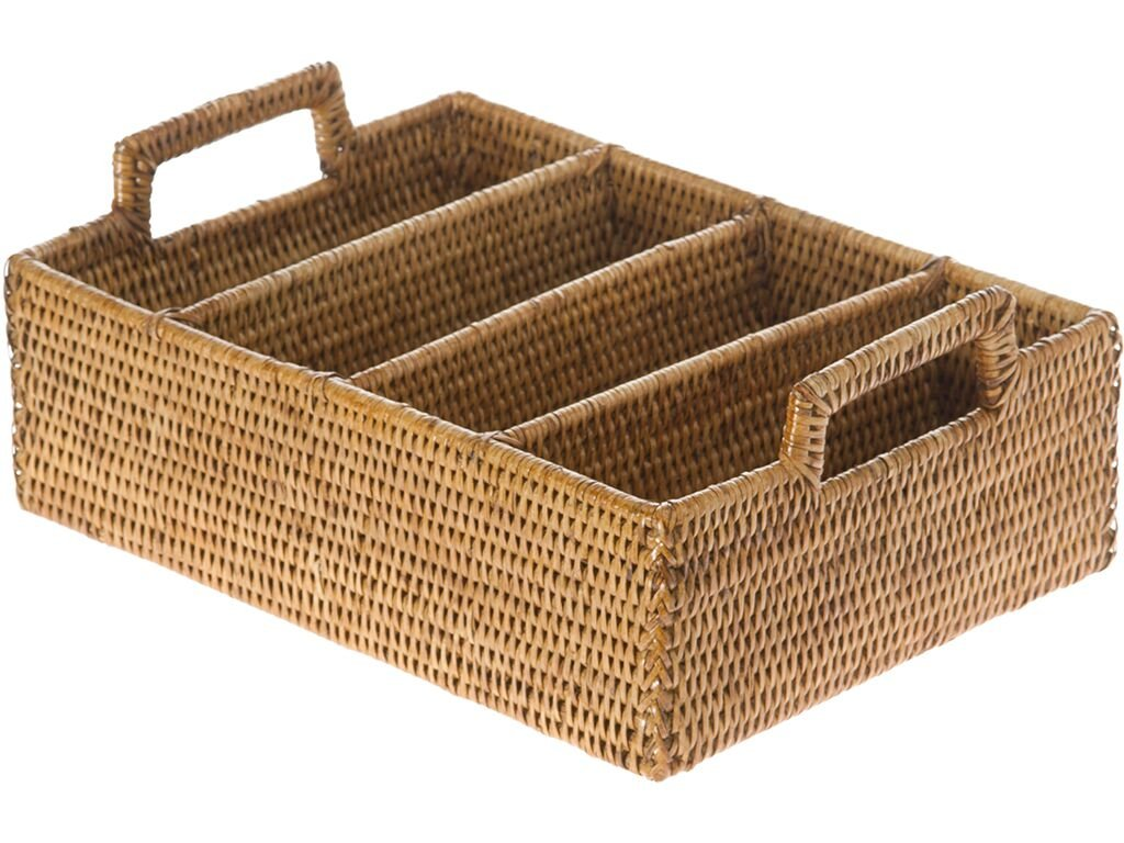 KOUBOO La Jolla Rattan Flatware Tray, Honey Brown