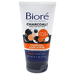 Bior√ Charcoal Acne Face Scrub, 4.5 Ounce, with 1% Salicylic Acid and Natural Charcoal, Helps Prevent Breakouts and Absorb Oil for Deep Pore Cleansing