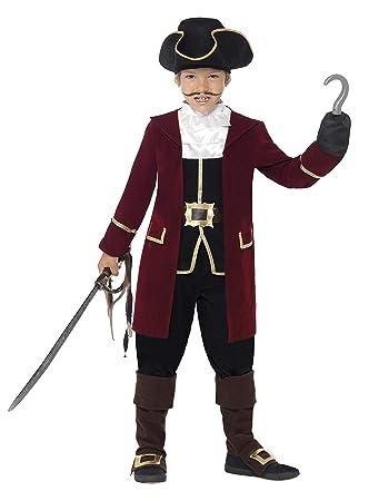 SmiffyS 43997L Traje De Capitán Pirata De Lujo Con Chaqueta, Falso Chaleco Y Pantalones, Negro, L - Edad 10-12 Años