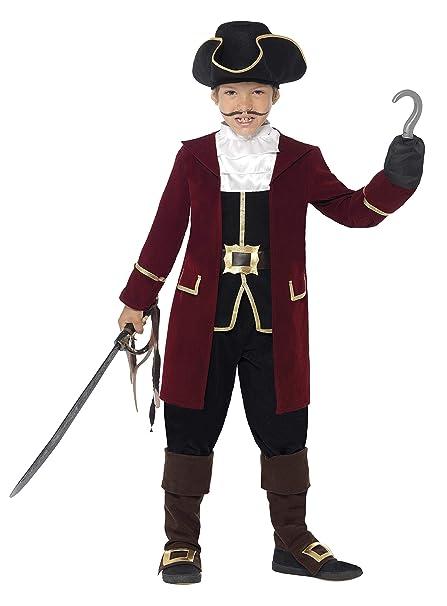 SmiffyS 43997S Traje De Capitán Pirata De Lujo Con Chaqueta, Falso Chaleco Y Pantalones, Negro, S - Edad 4-6 Años