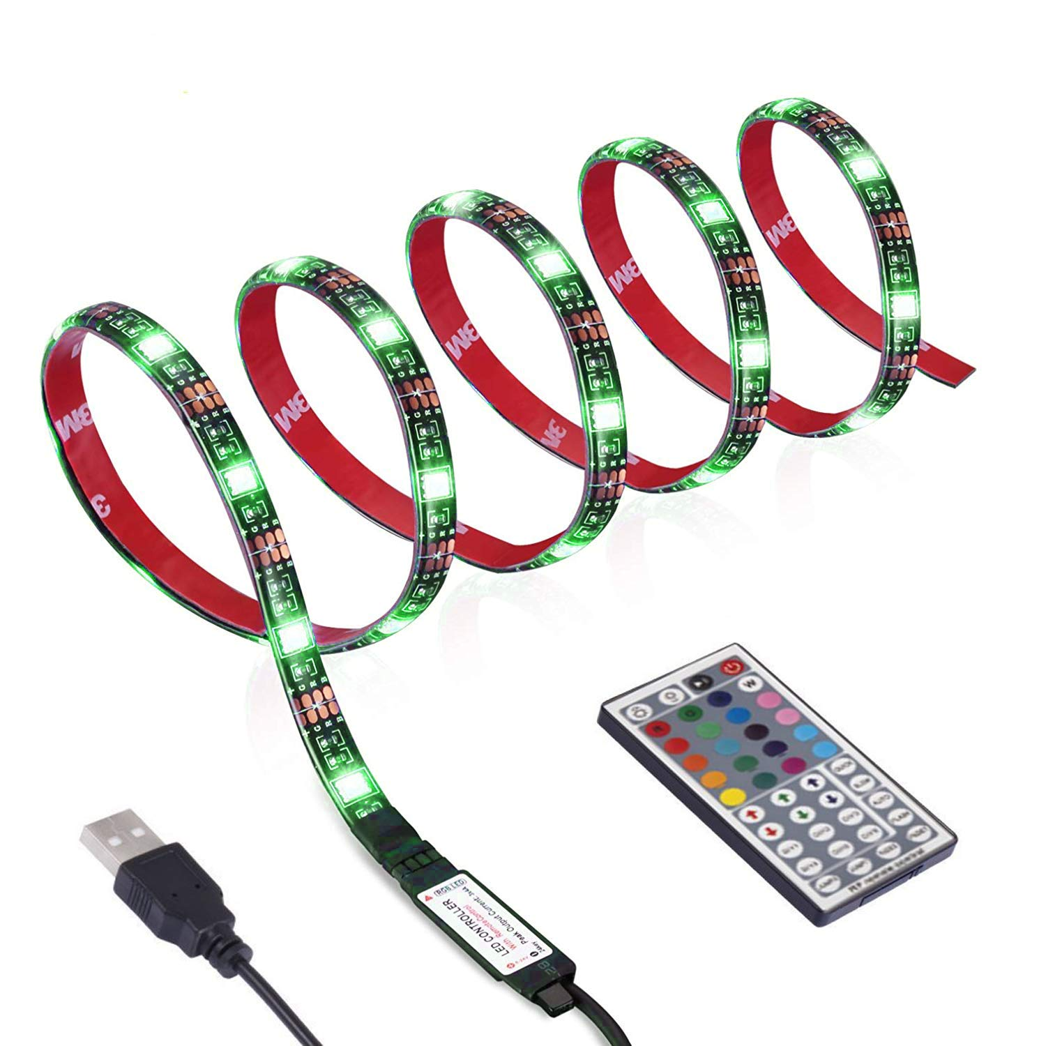 TYGREEN LED Strip LED TV Backlight 118inch(300cm) Bias Lighting Behind 60 65 70 Inch HDTV USB LED Light Strip TV Wall Mount Movie Theater Decor Mood Lights, RF Remote, 20 Colors