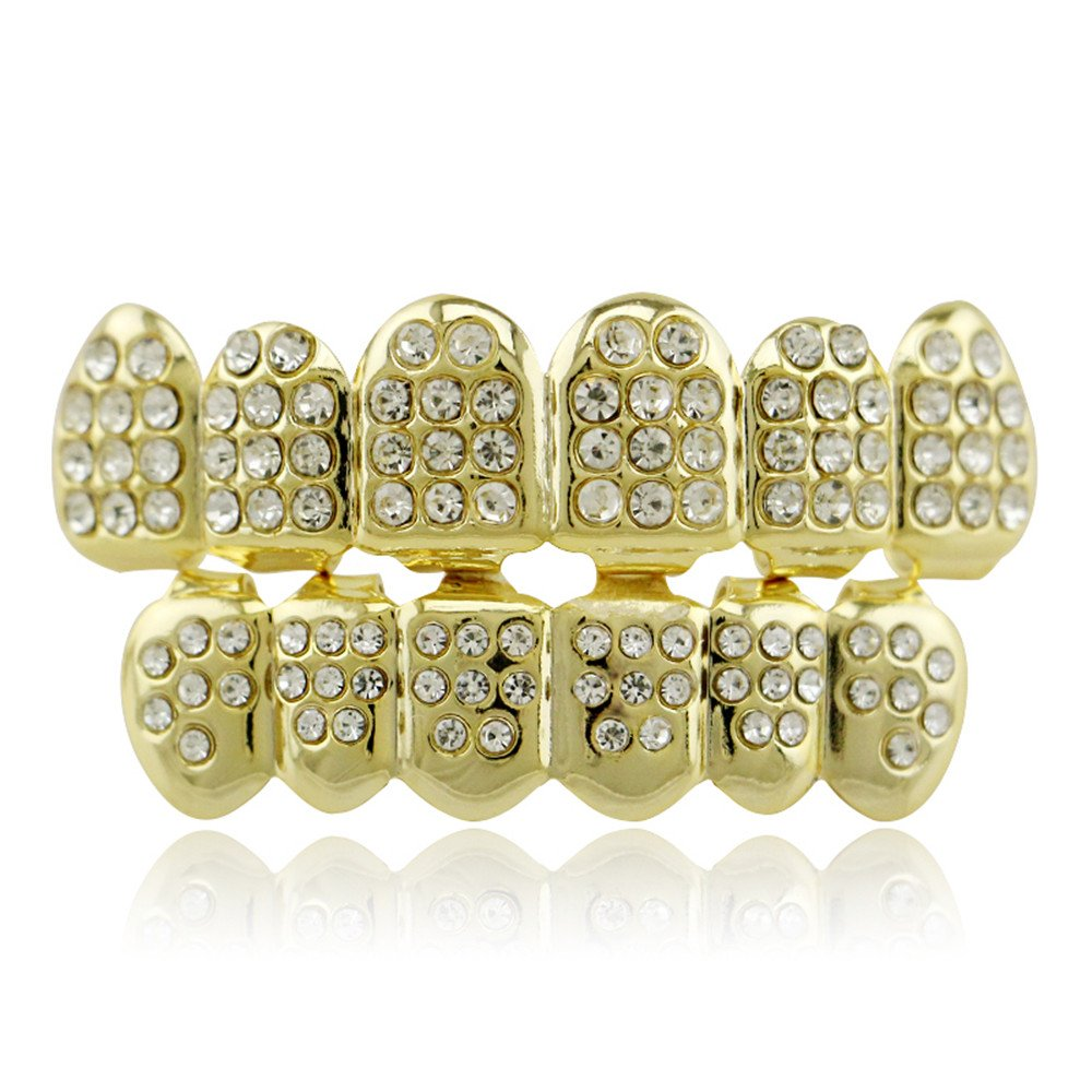 Lureen 14k Gold Plated Iced Out Grills with Diamond Hip Hop Teeth Top and Bottom Set LD0021