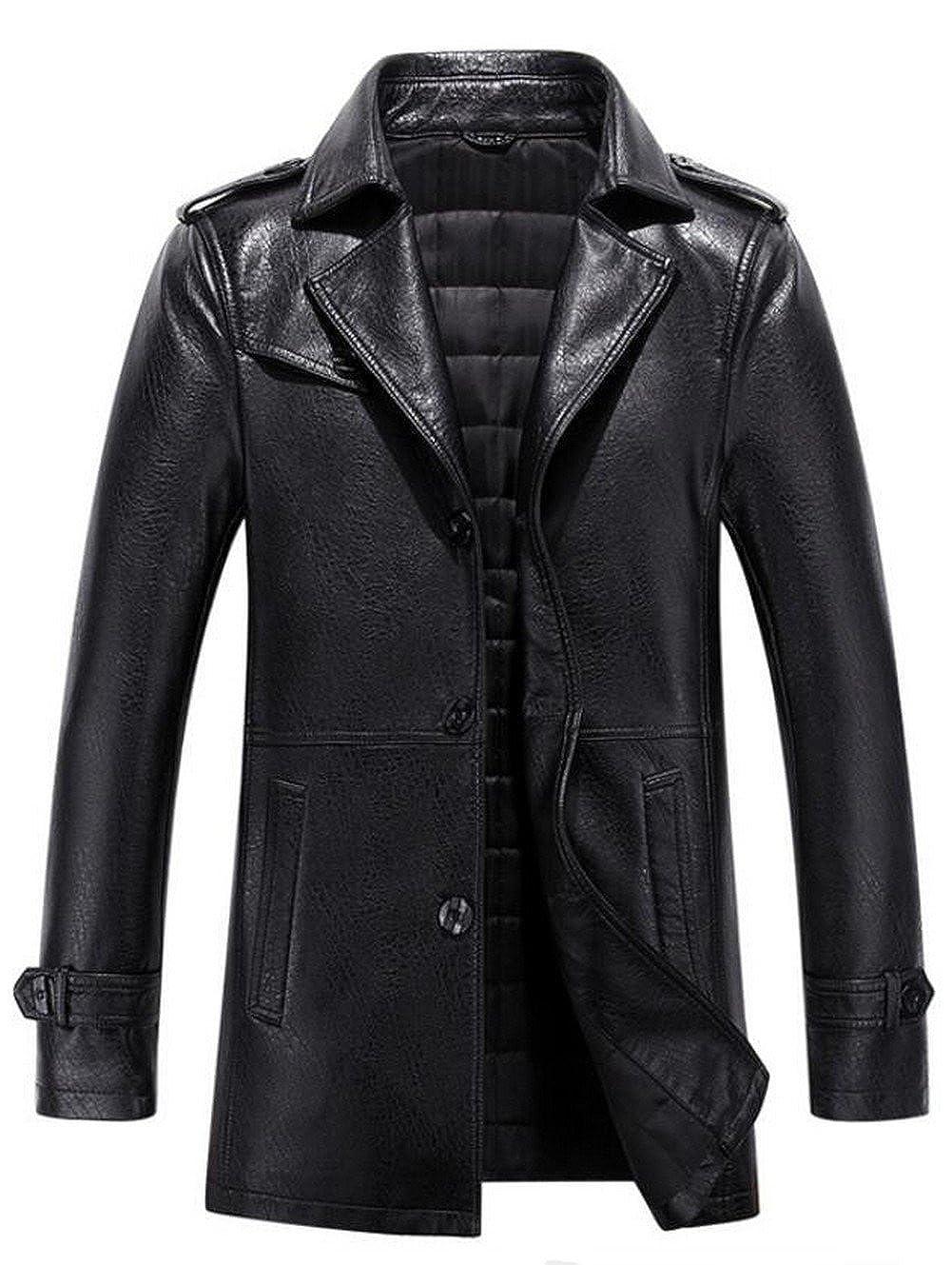 JIAX Men's New British Style Blazers MA-1 Faux Leather Bomber Jacket Coats