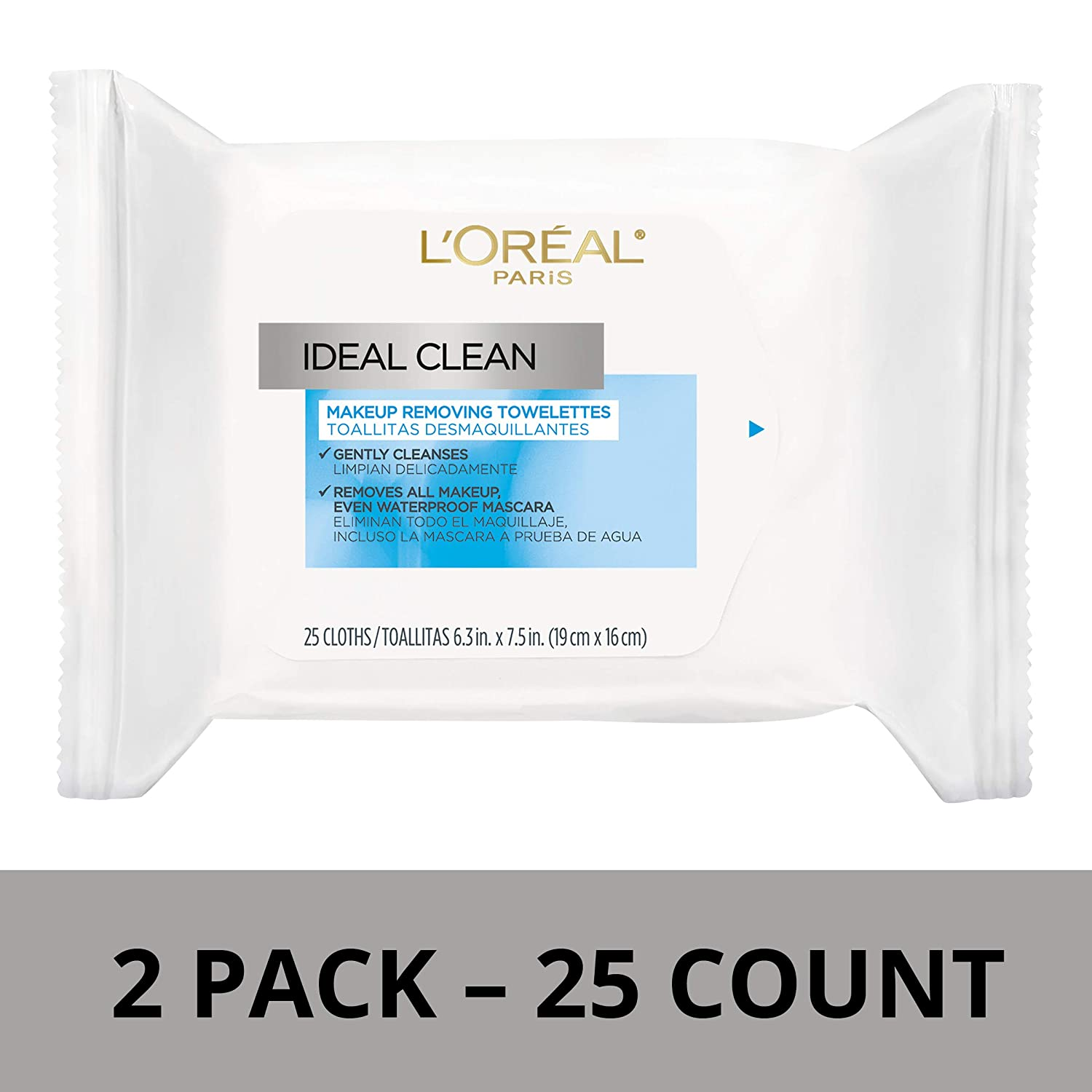 LOreal Paris Skin Care Ideal Clean Makeup Removing Facial Towelettes, 2 Count
