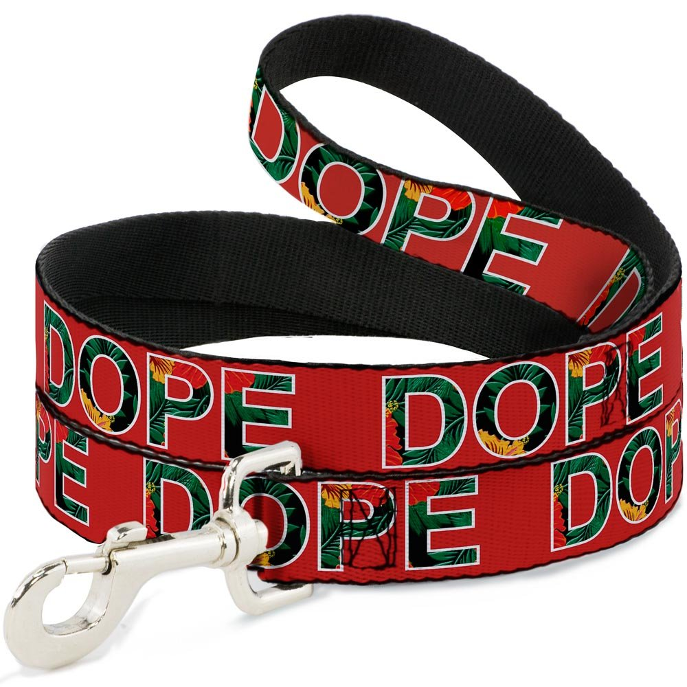 6Ft. Long  1.0 Inches wide Regular Buckle-Down DOPE Red Black Tropical Flowers  Dog Leash, 6'
