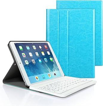 iPad 9.7 2017/2018, iPad Pro 9.7 n iPad Air 1/2 Funda de Teclado, iPad Funda Protectora con Teclado Inalambrico QWERTY Español para Nuevo Apple iPad ...