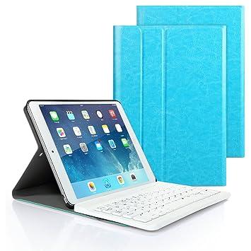 iPad 9.7 2017/2018, iPad Pro 9.7 n iPad Air 1/2 Funda de Teclado, iPad Funda Protectora con Teclado Inalambrico QWERTY Español Apple iPad 9.7 ...