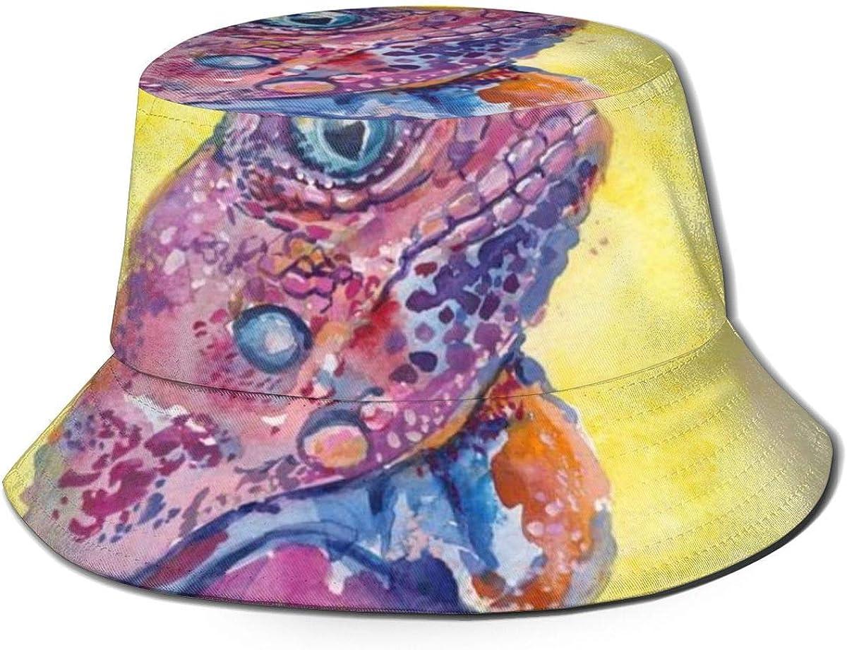 Sombrero de pescador con patrón de lagarto de aceite unisex para viajes de playa sombrero de sol transpirable gorra protección UV negro