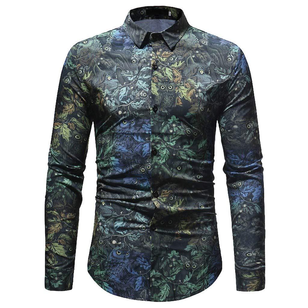 Islandse❤Mens Spring Winter Fashion Printed Casual Long Sleeve Slim Shirts