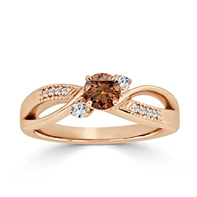 e57e4f72a 14k Gold Bypass Brown Diamond Engagement Ring (1/2 cttw, Brown, I1-I2) Size  4-9   Amazon.com