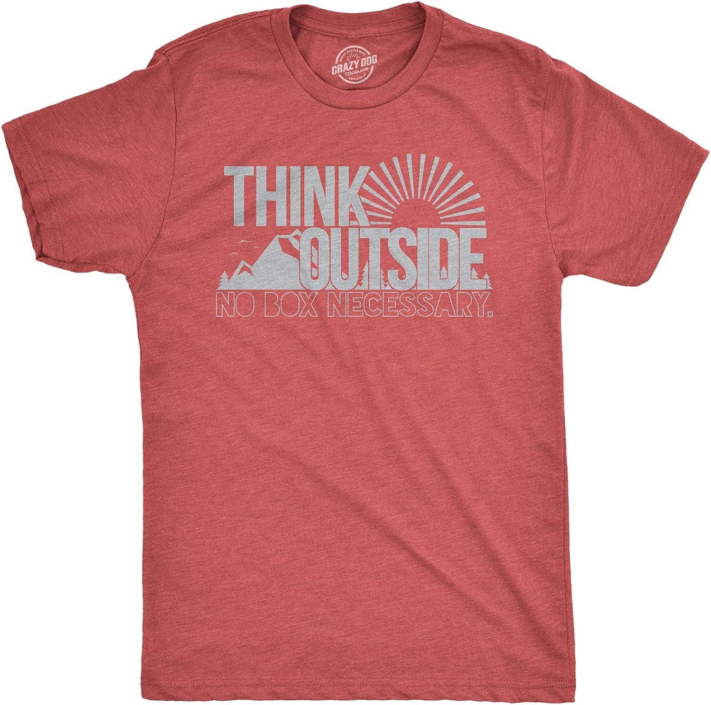 Mens Think Outside Funny No Box Necessary Hiking Camping Vintage Graphic T Shirt