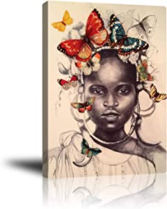 African American Girl Black Art Wall Decor Butterflies Canvas Artwork, Giclee Prints Framed Pictures Contemporary Home Decor for Living Room Bedroom Study Studio Ready to Hang 16x20inch