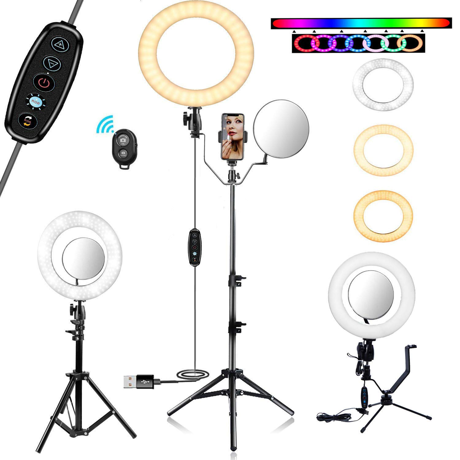 KEYUTE 10'' Selfie Ring Light, Dimmable RGB LED Ring Light with Tripod Stand and Cell Phone Holder for Vlog, Desktop Beauty Make up Ring Light with Mirror for YouTube Video Live Steaming by KEYUTE