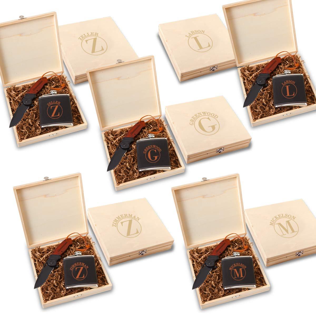 Groomsmen Stirling Flask Gift Box Set - Set of 5 (Circle)