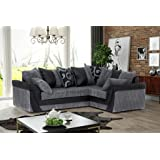 Abakus Direct Lush Corner Sofa Grey Black - Right
