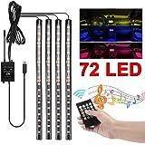 Yolispa LED Innenbeleuchtung Auto Licht 4x12 LEDs Lichtleiste mehrfarbliche USB Port Atmosph/äre Beleuchtung LED Streifen 12V RGB Fu/ßraumbeleuchtung mit Fernbedienung