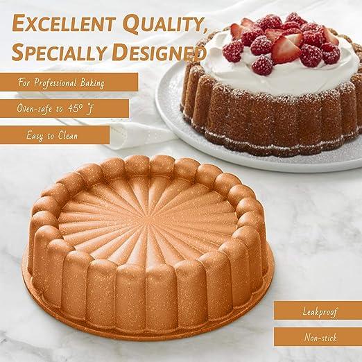 "4-Layer Non-stick Coating Vinchef Charlotte Cake Pan Nonstick 9.5/""| 1 Pcs Cast Aluminium Charlotte Cake Mold Quick Release Bakeware"