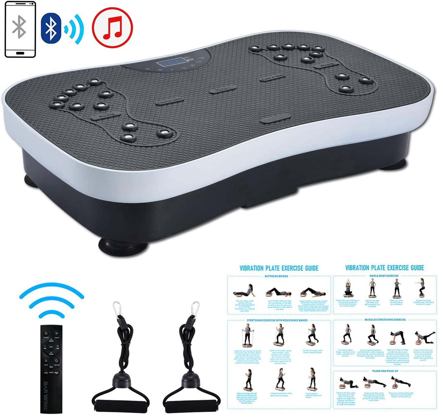 TODO Vibration Platform Power Plate Whole Body Vibrating Massager, Remote Control Bluetooth Music USB Connection Resistance Bands