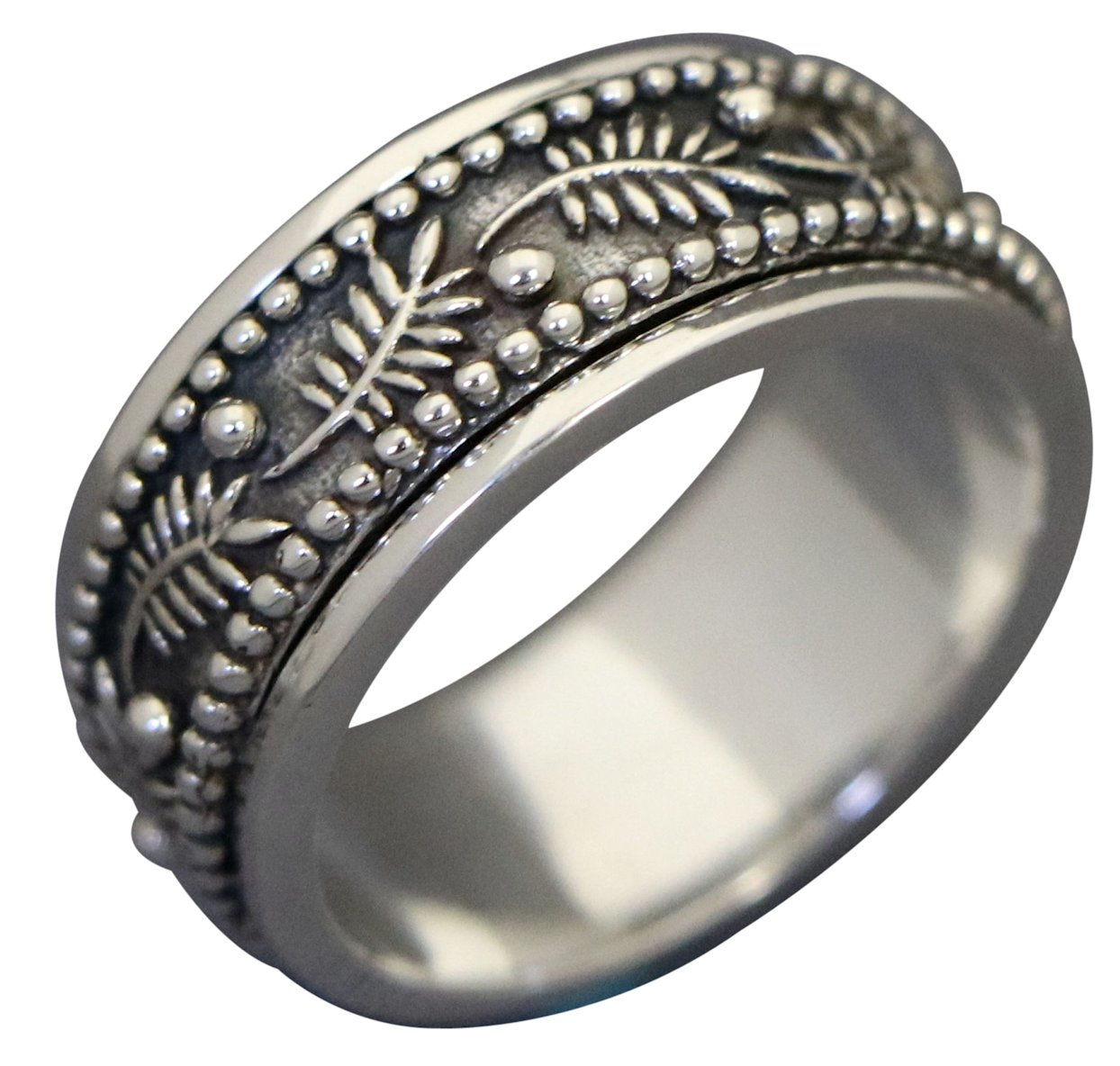 Energy Stone PALM LEAF Meditation Spinning Ring in Sterling Silver Designed by Viola So (Style# US42) (10) by Energy Stone (Image #1)