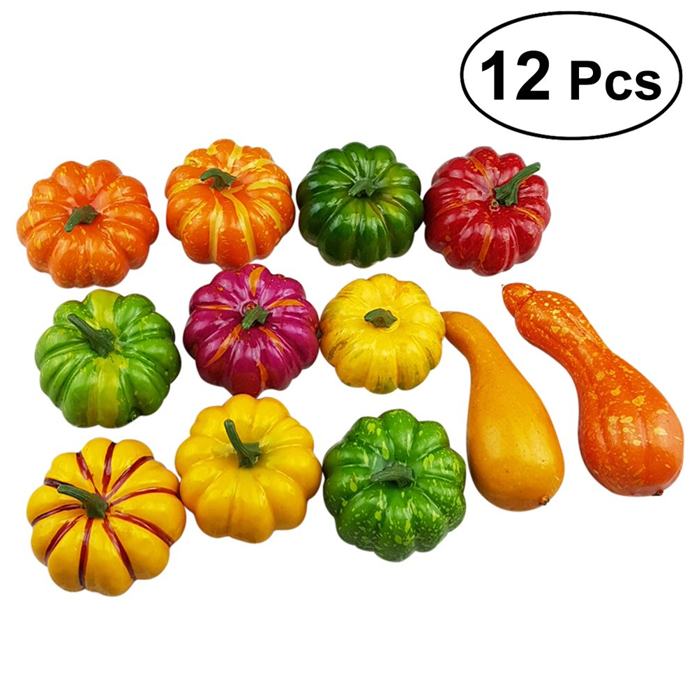 WINOMO 12pcs Assorted Artificial Pumpkins Gourds Table Centerpiece Fall Thanksgiving Display by WINOMO
