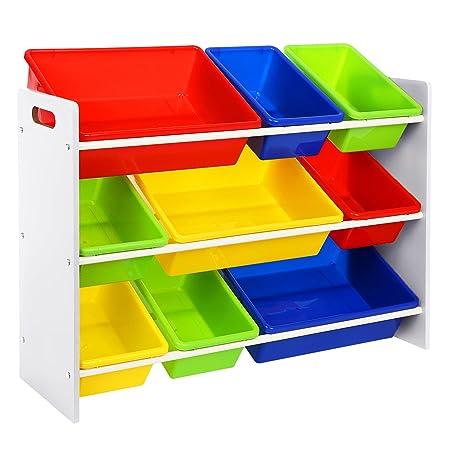 SONGMICS Toy Storage Unit 3 Tier Toy Shelf With 9 Plastic Boxes GKR02W